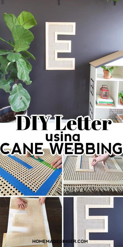 Make some DIY letter wall art using cane webbing. This modern letter wall art is easy to do and makes a big statement on any wall!