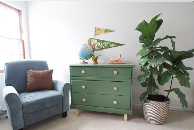 Learn how to renovate an old dresser with paint and new legs. This diy dresser makeover before and after couldn't be easier!