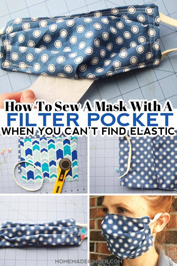 Learn how to sew a mask with a filter pocket when you can't find elastic. Use headbands or ponytail holders instead of elastic for this filter pocket mask!
